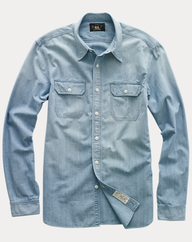 폴로 랄프로렌 Polo Ralph Lauren Cotton Chambray Workshirt,Medium Wash