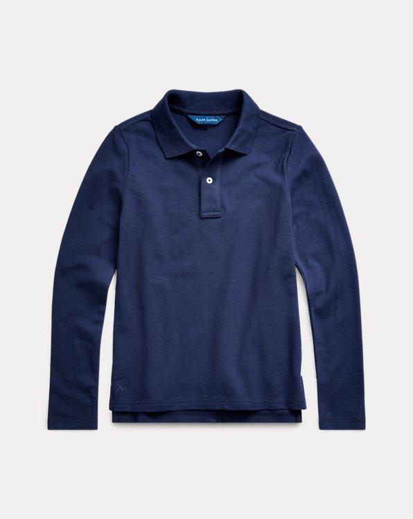 폴로 랄프로렌 걸즈 폴로 셔츠 Polo Ralph Lauren Long-Sleeve Uniform Polo Shirt,Newport Navy