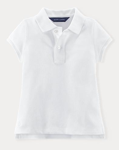 폴로 랄프로렌 여아용 반팔 카라티 화이트 Polo Ralph Lauren Uniform Polo,White