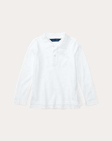 폴로 랄프로렌 여아용 긴팔 카라티 화이트 Polo Ralph Lauren Long Sleeve Uniform Polo,White