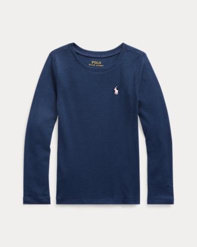 폴로 랄프로렌 여아용 긴팔 티셔츠 네이비 Polo Ralph Lauren Pony Long-Sleeved Tee,Newport Navy