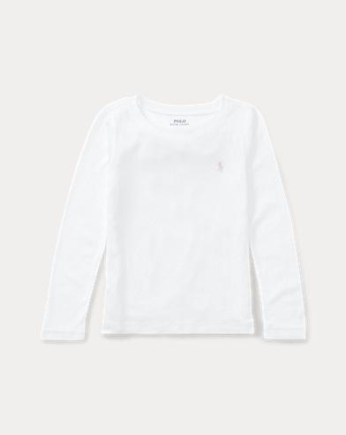 폴로 랄프로렌 여아용 긴팔 티셔츠 화이트 Polo Ralph Lauren Pony Long-Sleeved Tee,White
