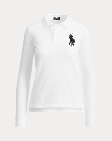 폴로 랄프로렌 우먼 폴로 셔츠 Polo Ralph Lauren Skinny Fit Big Pony Polo,White