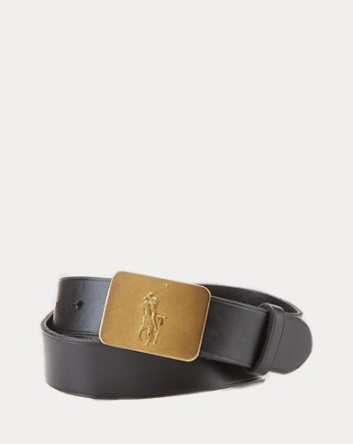 폴로 랄프로렌 보이즈 벨트 Polo Ralph Lauren Big Pony-Buckle Leather Belt,Black