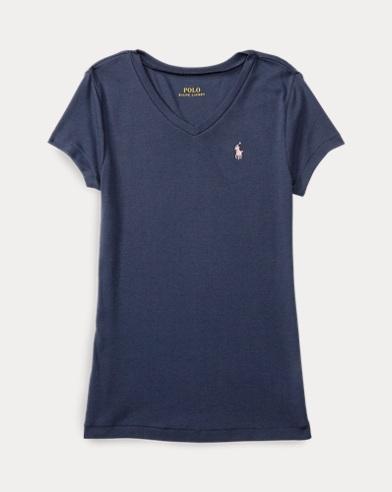 폴로 랄프로렌 여아용 반팔 티셔츠 네이비 Polo Ralph Lauren Cotton-Modal V-Neck Tee