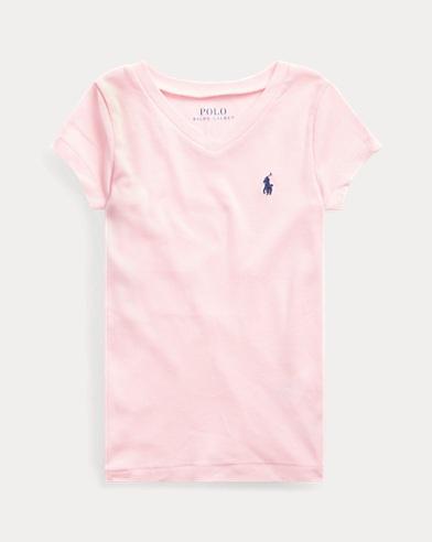 폴로 랄프로렌 여아용 반팔 티셔츠 카멜 핑크 Polo Ralph Lauren Cotton-Modal V-Neck Tee