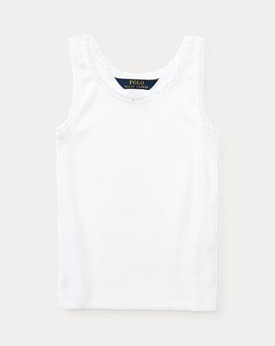 폴로 랄프로렌 여아용 탱크탑 화이트 Polo Ralph Lauren Lace-Trim Ribbed Tank,White