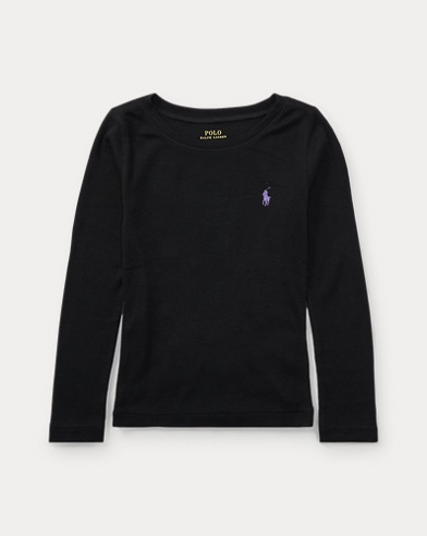 폴로 랄프로렌 여아용 긴팔 티셔츠 블랙 Polo Ralph Lauren Pony Long-Sleeved Tee,Collection Black