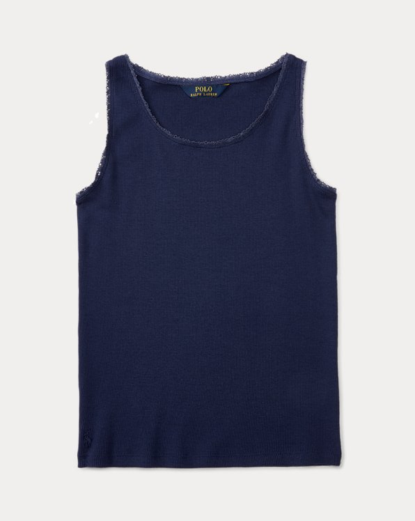 폴로 랄프로렌 걸즈 탱크 탑 Polo Ralph Lauren Lace-Trim Ribbed Tank,Newport Navy