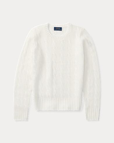 폴로 랄프로렌 걸즈 꽈배기 캐시미어 스웨터 화이트 Polo Ralph Lauren Cable-Knit Cashmere Sweater,Warm White