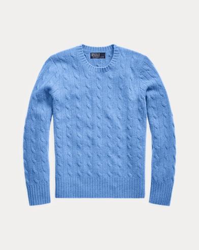 폴로 랄프로렌 Polo Ralph Lauren Cable-Knit Cashmere Sweater,New Litchfield Blue