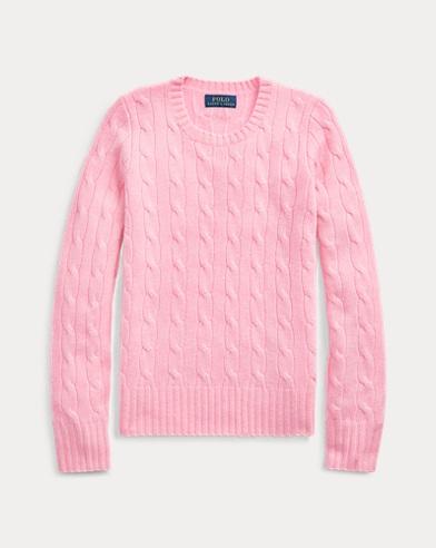 폴로 랄프로렌 걸즈 꽈배기 니트 캐시미어 스웨터 카멜 핑크 Polo Ralph Lauren Cable-Knit Cashmere Sweater