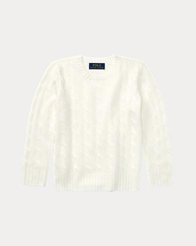 폴로 랄프로렌 남아용 꽈배기 스웨터 화이트 Polo Ralph Lauren Cable-Knit Cashmere Sweater,Warm White