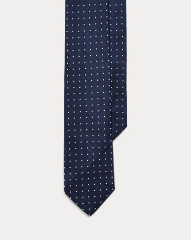 폴로 랄프로렌 Polo Ralph Lauren Polka-Dot Silk Repp Narrow Tie,Navy