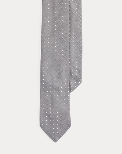 폴로 랄프로렌 Polo Ralph Lauren Polka-Dot Silk Repp Narrow Tie,Silver