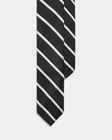 폴로 랄프로렌 Polo Ralph Lauren Striped Silk Repp Narrow Tie,Black/White