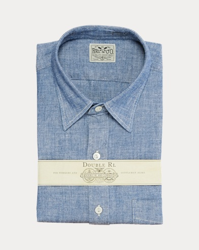 폴로 랄프로렌 Polo Ralph Lauren Slim Fit Chambray Dress Shirt,Steel Blue