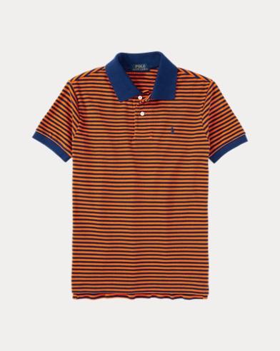 폴로 랄프로렌 Polo Ralph Lauren Striped Cotton Polo Shirt,Bright Orange Multi