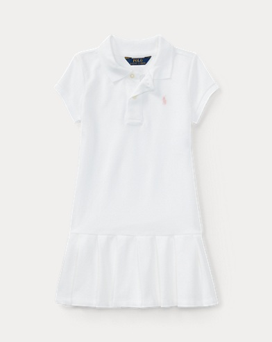 폴로 랄프로렌 여아용 원피스 화이트 Polo Ralph Lauren Pleated Cotton Polo Dress,White