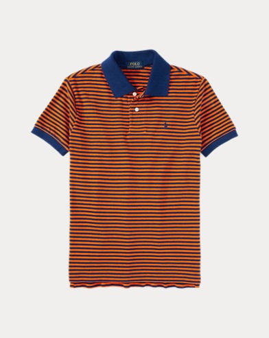 폴로 랄프로렌 남아용 폴로셔츠 Polo Ralph Lauren Striped Cotton Polo Shirt,Bright Orange Multi