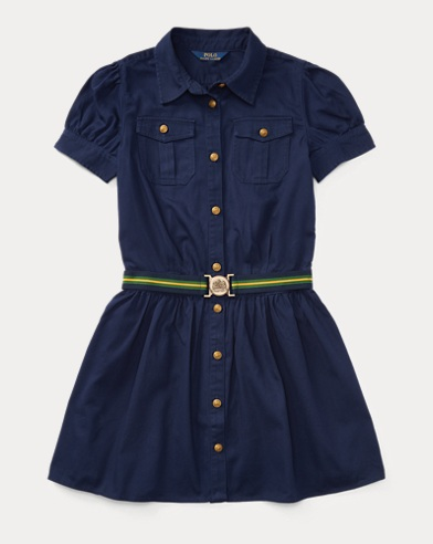 폴로 랄프로렌 걸즈 셔츠 원피스 네이비 Polo Ralph Lauren Belted Cotton Chino Shirtdress,Navy