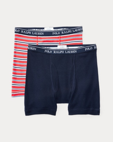 폴로 랄프로렌 보이즈 Polo Ralph Lauren Cotton Boxer Brief 2-Pack,Navy