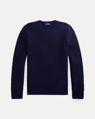 폴로 랄프로렌 꽈배기 니트 캐시미어 스웨터 네이비 Polo Ralph Lauren Cable-Knit Cashmere Sweater