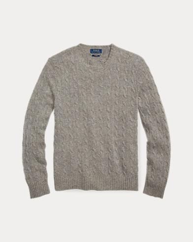 폴로 랄프로렌 꽈배기 니트 캐시미어 스웨터 그레이 Polo Ralph Lauren Cable-Knit Cashmere Sweater