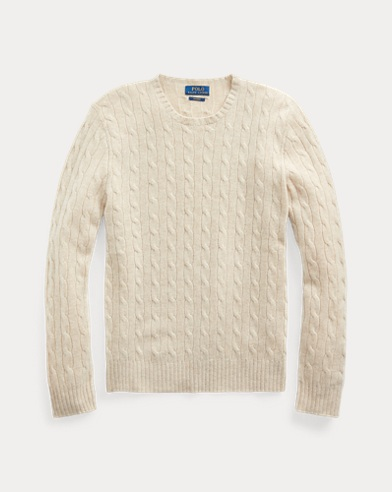 폴로 랄프로렌 Polo Ralph Lauren Cable-Knit Cashmere Sweater,Oatmeal Ragg