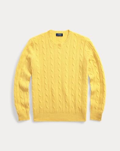 폴로 랄프로렌 꽈배기 니트 캐시미어 스웨터 옐로우 Polo Ralph Lauren Cable-Knit Cashmere Sweater
