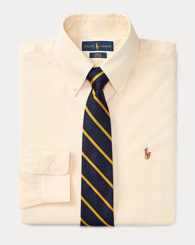 폴로 랄프로렌 Polo Ralph Lauren Slim Fit Oxford Shirt,Yellow/White
