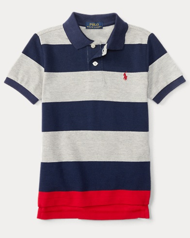 폴로 랄프로렌 남아용 스트라이프 반팔 폴로셔츠 Polo Ralph Lauren Striped Cotton Mesh Polo Shirt,Andover Heather Multi