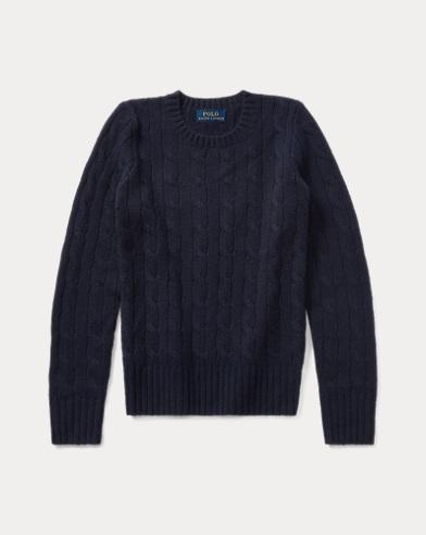 폴로 랄프로렌 걸즈 꽈배기 캐시미어 스웨터 블랙 Polo Ralph Lauren Cable-Knit Cashmere Sweater,French Navy