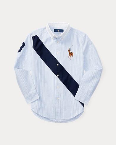 폴로 랄프로렌 Polo Ralph Lauren Banner Cotton Oxford Shirt,Bsr Blue Multi