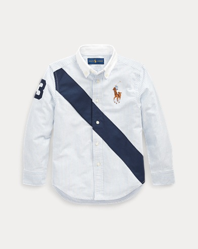 폴로 랄프로렌 Polo Ralph Lauren Banner Cotton Oxford Shirt,Bsr Blue Multi