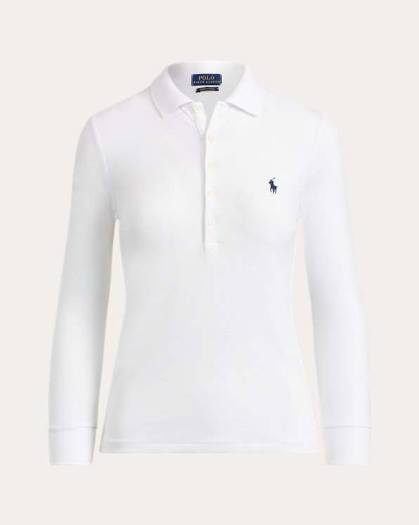 폴로 랄프로렌 우먼 폴로 셔츠 Polo Ralph Lauren Slim Fit Stretch Polo Shirt,White