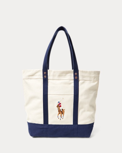 폴로 랄프로렌 토트백 네이비 Polo Ralph Lauren Canvas Big Pony Tote,Natural/Navy