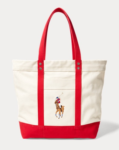 폴로 랄프로렌 토트백 레드 Polo Ralph Lauren Canvas Big Pony Tote,Natural/Red
