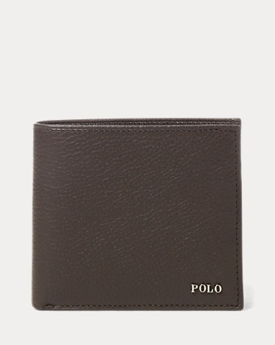 폴로 랄프로렌 반지갑 다크 브라운 Polo Ralph Lauren Metal-Plaque Leather Billfold,Dark Brown