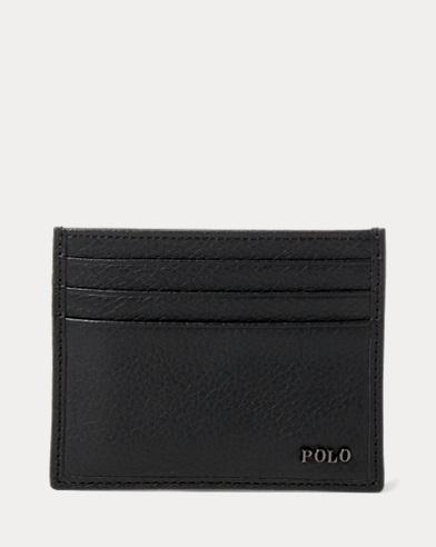 폴로 랄프로렌 카드 지갑 블랙 Polo Ralph Lauren Metal-Plaque Leather Card Case,Black