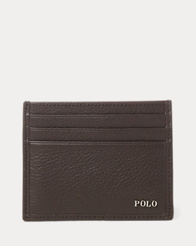 폴로 랄프로렌 카드 지갑 다크 브라운 Polo Ralph Lauren Metal-Plaque Leather Card Case,Dark Brown