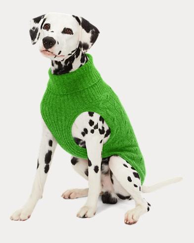 폴로 랄프로렌 강아지 꽈배기 캐시미어 스웨터 - 그린 빈 Polo Ralph Lauren Cable Cashmere Dog Sweater,Green Bean