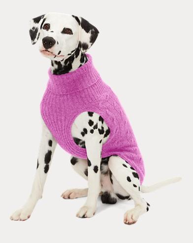 폴로 랄프로렌 강아지 꽈배기 캐시미어 스웨터 - 카네이션 핑크 Polo Ralph Lauren Cable Cashmere Dog Sweater,Carnation Pink Heather