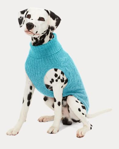 폴로 랄프로렌 강아지 꽈배기 캐시미어 스웨터 - 베케이션 블루 Polo Ralph Lauren Cable Cashmere Dog Sweater,Vacation Blue
