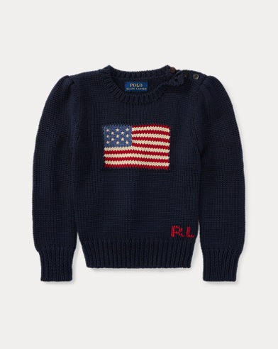 폴로 랄프로렌 걸즈 스웨터 네이비 Polo Ralph Lauren Flag Cotton Crewneck Sweater, Hunter Navy