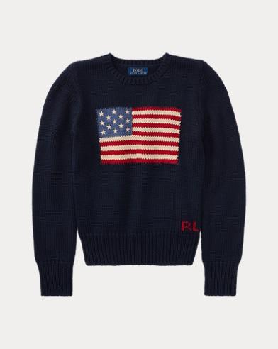 폴로 랄프로렌 걸즈 스웨터 네이비 Polo Ralph Lauren Flag Cotton Crewneck Sweater, Hunter Navy