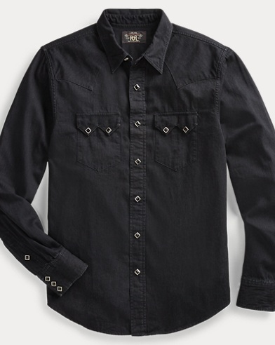 폴로 랄프로렌 Polo Ralph Lauren Denim Western Shirt,Black And Black