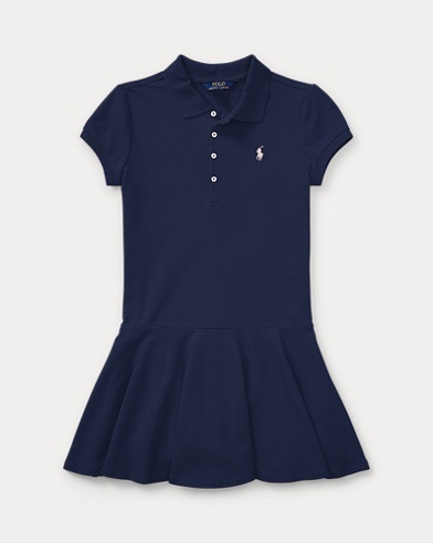 폴로 랄프로렌 걸즈 원피스 네이비 Polo Ralph Lauren Stretch Cotton Mesh Polo Dress,Navy