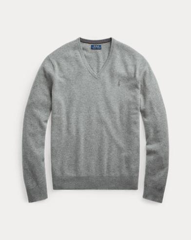 폴로 랄프로렌 맨 매리노울 브이넥 스웨터 - 그레이 Polo Ralph Lauren Merino Wool V-Neck Sweater,Fawn Grey Heather
