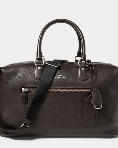 폴로 랄프로렌 더플백 다크 브라운 Polo Ralph Lauren Pebbled Leather Duffel Bag,Dark Brown